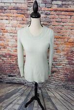 Cynthia Rowley Light Blue Crewneck 2 Ply CASHMERE Pullover Tunic Sweater Sz L