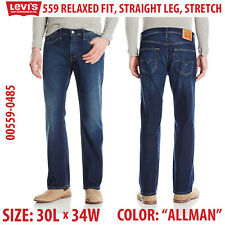 Levis 559 Relaxed Straight Leg Fit Stretch Jeans 30 x 34 00559-0485 Allman Blue