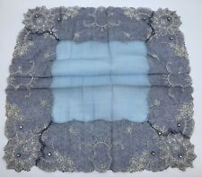 Fancy Vintage Blue Hankie w/ Embroidered Lace & Rhinestone Embellishment (Rf899)