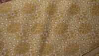 """Vintage Retro DOUBLE KNIT FABRIC Floral on Gold 2 Yds/ 66"""" Wide"""