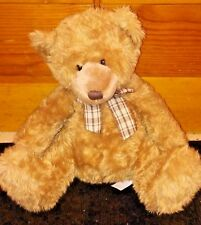 Animal Alley Brown Teddy Bear with Plaid Bow 2000 Plush 15 inches tall