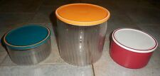 TUPPERWARE 3 BOITES VITRINE RESERVE RONDES 3 L + 1 L + 1 L ORANGE VERT ROUGE