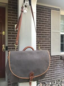 Holland Brother's Vtg Waxed Canvas Leather Messenger Bag Briefcase