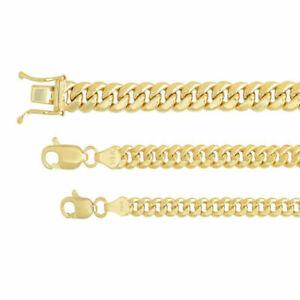 "14k Yellow Gold 3.75mm-5.3mm Miami Cuban Link Necklace Bracelet Sz 8""-9"""