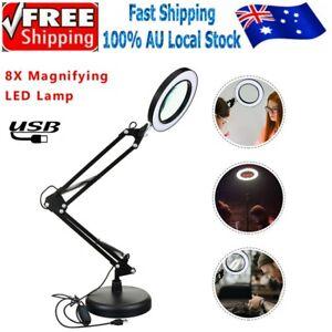 8X Magnifying Lamp Magnifier Desk Table USB LED Light Nail Beauty Tattoo Salon