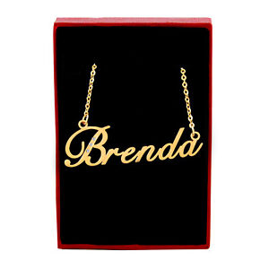 Brenda Name Necklace - Gold Tone - Cubic Zirconia - Mothers Day