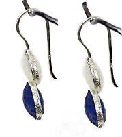 Women Jewelry 925 Sterling Silver Rainbow Moonstone, Lapis Earrings 3.3 Cm CCI