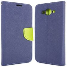 Navy / Neon Green Cover for Samsung Galaxy On7 Card Case Holder Folio Pouch