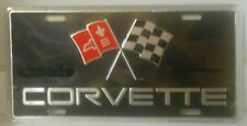 CORVETTE  LICENSE PLATE WITH RACING FLAGS CHEVROLET CHEVY MADE IN USA VETTE