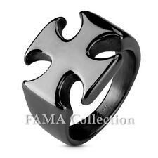 Unique FAMA Iron Cross Black IP 316L Stainless Steel Ring Size 9-14