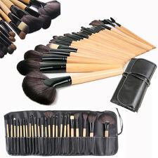 24 Professional Kabuki Make Up Brush Set Foundation Brushes Wood Makeup Brushes