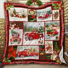 Take A Little Christmas With You, Red Truck Quilt, Fleece Blanket Made In Us
