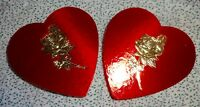 "Vintage Valentines Day Red Heart Candy, Gold roses, Jewelry Box 5"" Lot of 2"