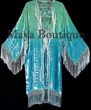 Jade Turquoise Burnout Velvet Kimono Jacket Hand Dyed Maya Matazaro Made in USA