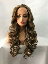 New Women brown blond mix long Curly Wavy Lace Front Natural Cosplay wig