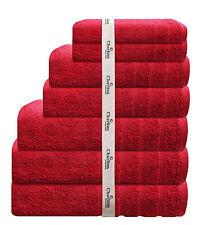 7 Pce 575Gsm Egyptian Cotton Towel Set 2x Bath/ Hand / Face Towels 1 x Mat Red