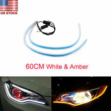 60cm LED Headlight Strip Lamp DRL Sequential Flow Signal White Yellow Headlamp
