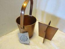 Pfaltzgraff copper pail utensils organizer w/ insert Nature wood Serenity Nos