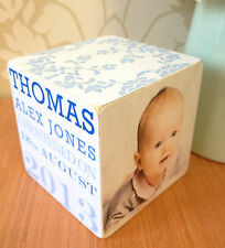 Hand Made Wooden Personalised Christening Photo Frame Cube Gift Present Gift