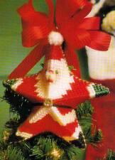SANTA STAR ORNAMENT CHRISTMAS PLASTIC CANVAS PATTERN INSTRUCTIONS