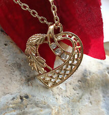 Gold Necklace Crystal Wife Girl Friend Art Deco Maple Rose Heart Romantic Love