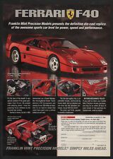 1992 Red FERRARI F40 Sports Car - 1:24 Die Cast Car Replica - VINTAGE AD