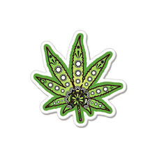 "Marijuana Pot Magic Grass Smoker car bumper sticker decal 4"" x 4"""