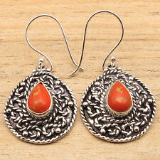 ETHNIC JEWELRY ! ORANGE COPPER TURQUOISE Old Style Earrings ! 925 Silver Plated