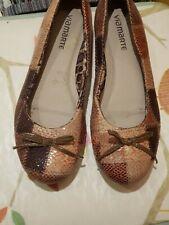 VIA MARTE Ladies Ballerina Flats Crocodile Look - SIZE UK 3 - EUR 36
