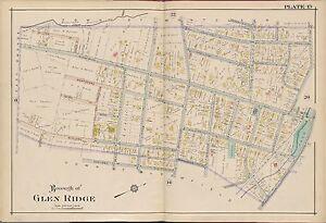 1906 GLEN RIDGE, ESSEX COUNTY NEW JERSEY, TONEY'S BROOK PARK COPY PLAT ATLAS MAP
