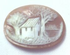 NOS Antique Hand Carved Oval Shell CAMEO Stone House & Tree Scene #N434