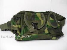 5 Pockets Fabric Nylon Fanny Pack Waist Bag Green Camo Travel Money Camouflage