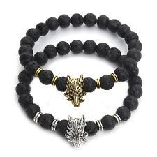 Hot Mens Beaded Bracelet Handmade Bead Lava Stone Gold Silver Dragon Head