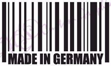 FATTO IN GERMANIA BAR CODE Divertente Adesivo in vinile per auto, 11 Colours VW