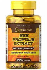 Puritan's Pride Bee Propolis 500 mg 100 Capsules Flavonoids Multivitamins New
