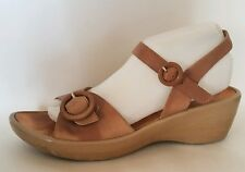 Kumfs Sandals Womens 10.5 M EUR 41 Brown Leather Wedge Ankle Strap Open Toe Shoe