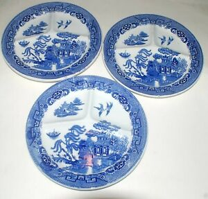 """Lot (3) Petrus Regout & Co 11"""" Divided/Grill Plate ca1890 Willow Pattern"""
