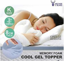 Cool GEL Memory Foam Mattress Topper Bamboo Fabric Cover King Size 8cm Protector