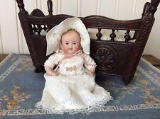 "Antique German All Bisque Miniature 4"" Dollhouse Baby #830-1 Great Dress &Bonnet"