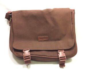 Karl Lagerfeld Saddle Bag Messenger Crossbody Bookbag Brown Sueded PVC Vegan