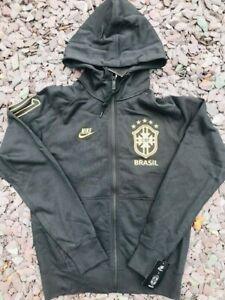 Mens Nike x Brazil Football Full Zip Embroidered Hoodie Black Small S RRP £69.99