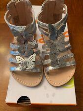 NWB-Toddler Girls Jumping Beans Silver Sherbert Gladiator Sandals-Size 6