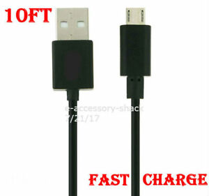 Black 10FT Fast Charge Micro USB Cable Rapid Charging Sync Power Cord 22 AWG
