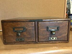 2 Drawer Library Bureau Card Catalog Cabinet. Larger Stock 4x6
