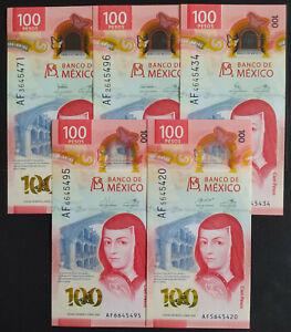 AF) MEXICO 2020 $100 SOR JUANA + NEW POLYMER + 5 SIGNATURES SET incroyable fanta