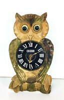 Vintage Wooden Moving Eyes Mechanical Cuckoo Owl Clock