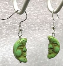 NEW 925 Sterling Silver Green Turquoise Magnesite Moon Face Hook Earrings 1.5""