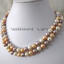 "34"" 7-9mm White Peach Pink Lavender Freshwater Pearl Necklace AC"