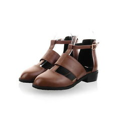 Womens Flat Oxford Vintage Girls Roma Sandal Pump Boot Cut out Leather Plus Size