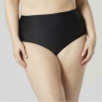 Tropical Escape Plus Size Swimsuit Bottoms Black Solid Briefs Bikini Bottom